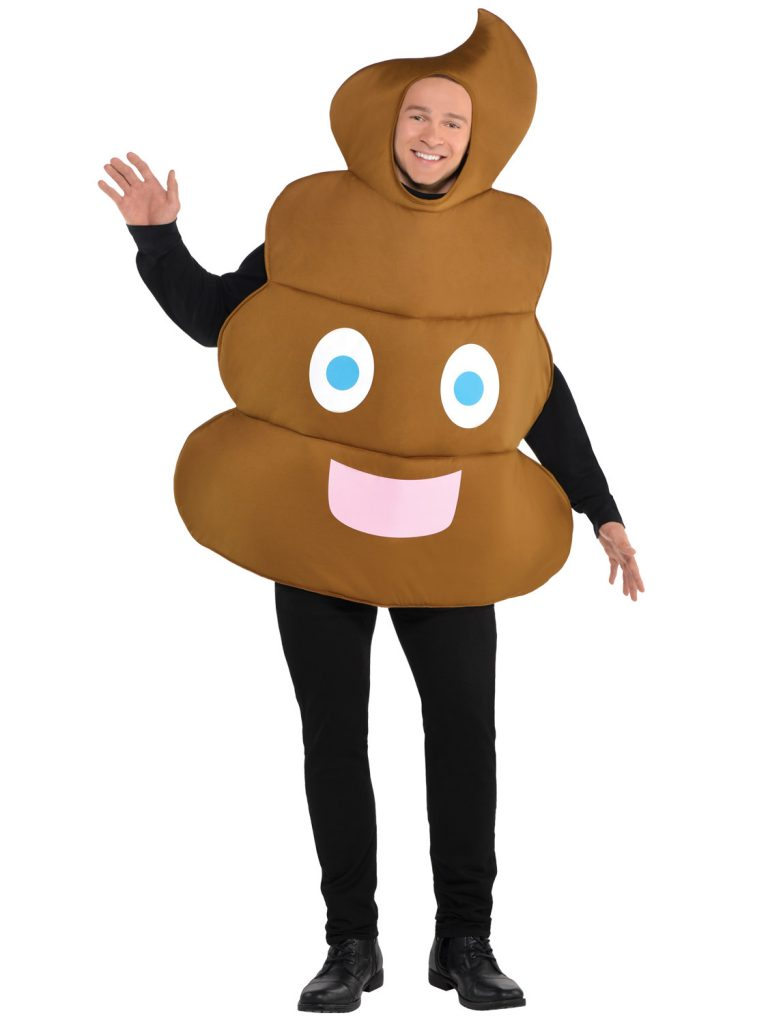 A photo of a man dressed as the shit emoji